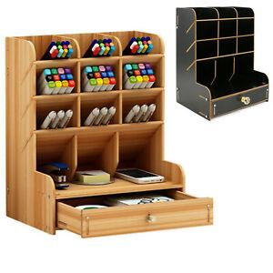 Wooden Pen Pencil Storage Holder Organizer Office Desk Tidy Case wIth Drawer
