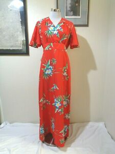 70s ROYAL HAWAIIAN RED/GREEN/BLUE HIBISCUS PRINT POLY EMPIRE WAIST MAXI DRESS M