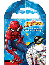 Marvel Spiderman Boys Carry Along Colouring Set Crayons Travel Activity Kids