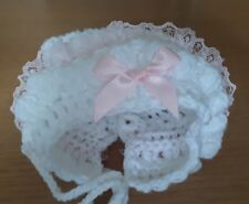 Newborn Baby Girl White Crochet Bonnet With pink frill And pink bow