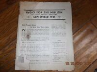 """Radio for the Millions"" Magazine, issue September 1931.  Very Rare Collectable"
