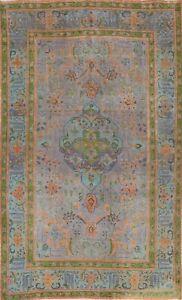 Semi-Antique Geometric Distressed Overdyed Oriental Area Rug Handmade Wool 6x10