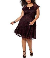 City Studio Womens Lace Fit & Flare Dress, Purple, 20W