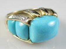 14K Turquoise Diamond Ring LeVian Yellow Gold Fine Jewelry Cabochon Matte Size 7