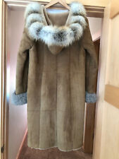 Inochi Shearling Coat with Genuine Fox Trim  size 8