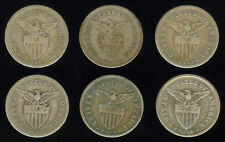 20 Centavos 6 pcs. US-Philippine Silver Coin  - 1907, 13, 17, 18, 21, 29