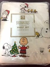 Pottery Barn Teen PEANUTS FULL Sheet Snoopy Charlie Brown Christmas Holiday NEW