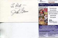 John Glenn Autograph Astronaut / U.S. Senator Signed Card Jsa Authenticated