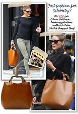 ZARA Plaited Buffalo Leather Brown Shopper Tote Handbag Celebrity Bag RARE
