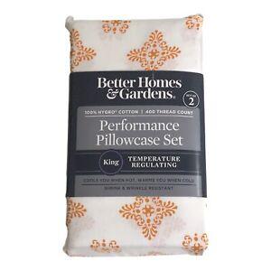 Better Homes & Gardens 2 King Pillowcase Ochre Medallion MICROFIBER Hygro Cotton