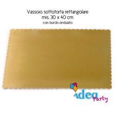 VASSOIO SOTTOTORTA Rettangolare 30 x 40 cm cartone dorato Piatto torta