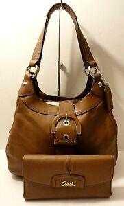 Coach F17219 Lot of 2 Leather Hobo Shoulder Purse Bag & Ashley Wallet Tag Charm