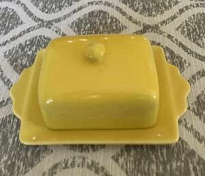 Anthropologie Biscuit Yellow 1/2 Stick Covered Butter Dish Ceramic Anthro