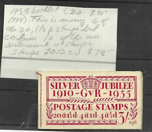 Great Britain 1935 Silver Jubilee Booklet - Missing 6 of 1 1/2 - CAT VALUE $78.0