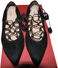 valentino Rockstud Lace-up Ballerina Ballet Flat Shoe Black Pointy Toe Pump 38.5