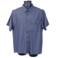 The North Face Men's Medium Blue Plaid Modal Short Sleeve Button Hiking Shirt M