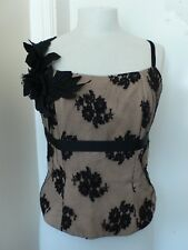 S/M Black Lace/Beige Corset Top Philip Armstrong Couture