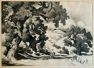 """GENE KLOSS """"The Open Road""""1941 Etching w Aquatint Drypoint Signed Edition of 50"""