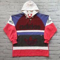 Vintage 90s Adidas Trefoil Big Logo Hoodie Sweatshirt Size L XL Rare