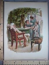 Rare Antique Original VTG 1893 Serving Lunch Eugen Klimsch Color Litho Art Print