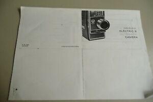 Instructions cine movie camera KODAK ELECTRIC 8 AUTO - photocopy of original