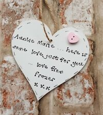 Personalised Christmas  gift for auntie aunty handmade wooden heart