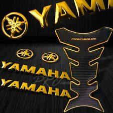 "ProGrip Chrome Gold Fuel Tank Pad+6""3D Yamaha Logo+Letter Fairing Emblem Sticker"