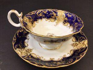 Antique Regency Cobalt Grape Vine Davenport Longport Staffordshire Cup Saucer
