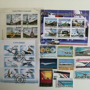 25 Different Concorde on Stamps Collection