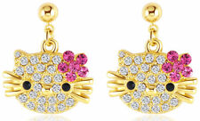 Hello Kitty Cat 18k Yellow Gold Austrian Crystal Stud Ruby Color Earrings