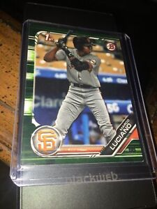 Marco Luciano 2019 Bowman prospects green camo parallel 1st Bowman RC Giants