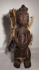 Antique Yombe Songye African Carved Fetish Figure Feathers Hardwood Nice Patina