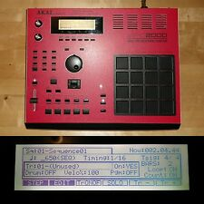 CUSTOM Akai MPC 2000 RED/BLACK skin w/WHITE LEDs BLACK PADS MAXED RAM