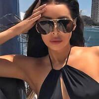 Oversize Designer Aviator Sunglasses Metal Frame Smoke Lens Men Women Fashion