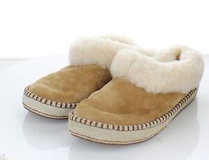I52 $100 Women's Sz 8 M UGG Wrin Suede & Genuine Shearling Slippers -Chestnut