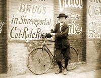 "1913 Drug Store Delivery Boy, Shreveport Vintage Photograph 8.5"" x 11"" Reprint"
