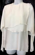LANVIN blouse Natural White Long Sleeve Draped Front  NWT $3135 Sz 36