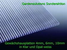 Doppelstegplatten 4 mm / 6mm / 10mm Farben: KLAR und Opal Gewächshausplatte