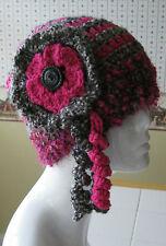 Handmade Crochet Women's Winter Warm Hat Multi Color Grey/Hot Pink