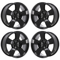 "20"" GM SILVERADO 1500 BLACK WHEELS FACTORY OEM 2016 2017 5652 SET 4 EXCHANGE"