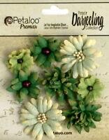 MINI Mix GREEN 8 Teastained Paper Flowers 20-35mm across Darjeeling Petaloo Ver