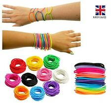 12 x GUMMY BRACELETS Jelly Rubber Bangles Shag Bands Friendship Wristbands UK