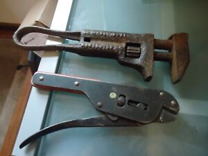 Vintage ANTIQUE PIPE MONKEY WRENCH & VICE A GRIPS CHECK THEM OUT