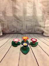 Hand made wooden lily pad candle holders X4