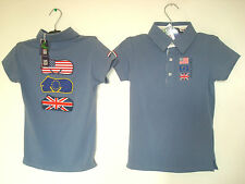 Polo enfant Country rugby equi-théme equitation cheval  T 10 ans bleu NEUF