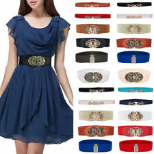 Lady Wide Buckle Elastic Dress Waist Belt Stretch Leather Waistband Bow Belt
