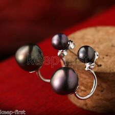 New Fashion Natural Double Black Freshwater Pearl Sterling Silver Stud Earrings