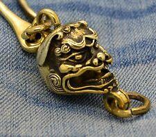 Hand Made Brass Chain Hook Chinese Lion Skull Motorcycle Biker Polishable Men