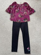 Girls 2 Piece Maroon Floral Top & Pant Size Medium With Necklace