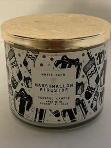 WHITE BARN BATH & BODY WORKS MARSHMALLOW FIRESIDE SCENTED 3-WICK CANDLE 14.5 OZ